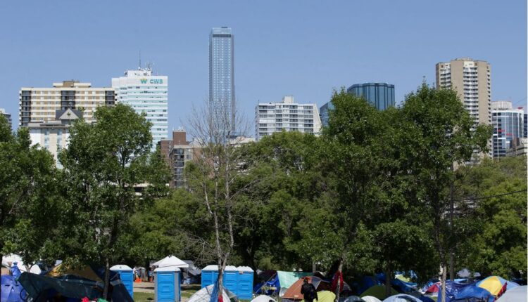 Camp near ReMax Field grows to more than 170 tents,